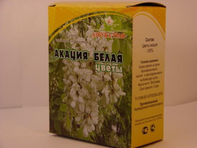 Цветы акации в аптечной упаковке