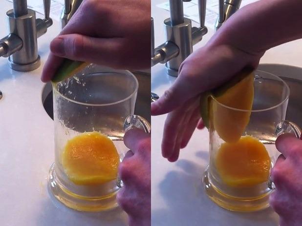Разделка манго с помощью тонкостенного стакана