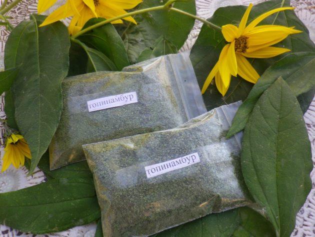 Сушеные листья топинамбура