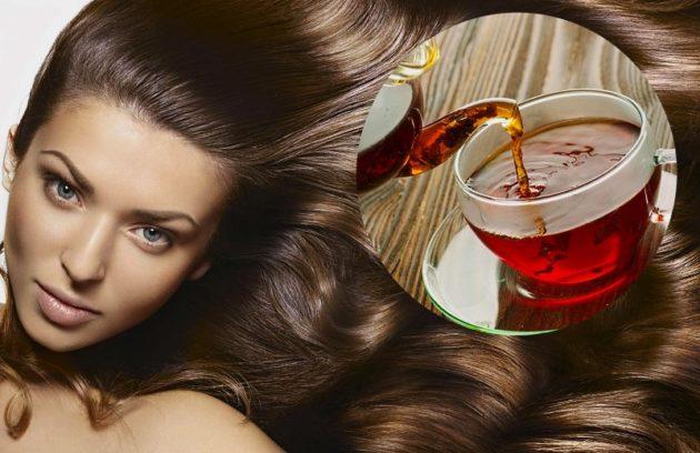 Девушка с длинными волосами и ёмкость с чаем