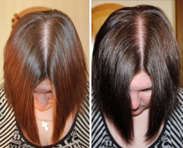 Фото ДО и ПОСЛЕ окрашивания волос чёрным чаем