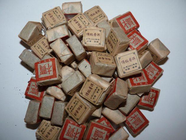 Сорта пуэра в упаковках вперемешку