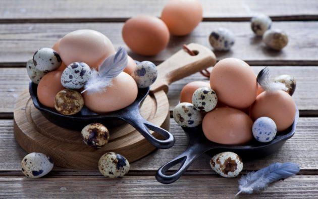 Яйца кур и перепелов