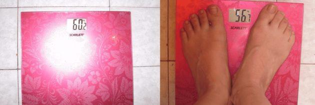 Цифры на весах девушки до и после яблочной диеты