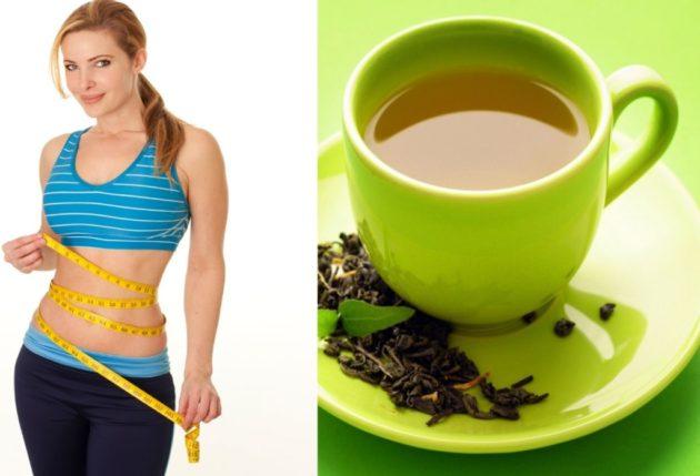 монастырский чай для похудения и девушка, измеряющая талию сантиметровой лентой